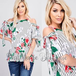 Floral and Stripes Blouse Top Shirt